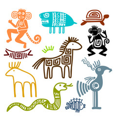 aztec and maya ancient animal symbols vector image
