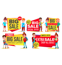 big sale banner set school children pupil vector image
