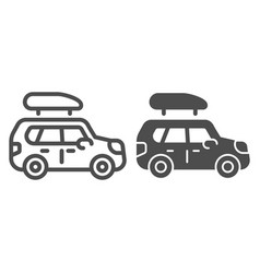 Boat trailer line and glyph icon automobile with vector