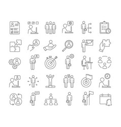 business management linear icons set vector image