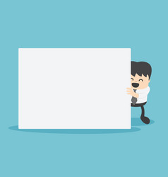 businessman with blank white banner holding a vector image