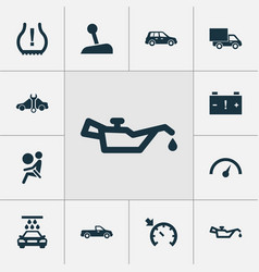 car icons set with alert vehicle wash oil vector image