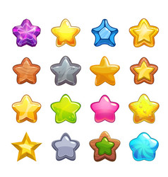 cartoon colorful star icons set vector image