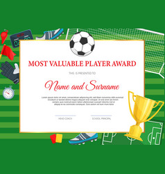 Certificate achievement in soccer football game vector