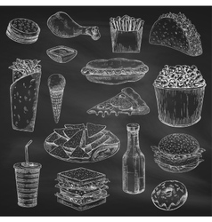Chalk drawing of fast food on blackboard vector