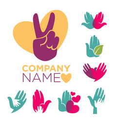 Charity company emblems set with colorful human vector