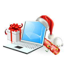 Christmas laptop computer vector