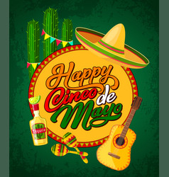 Cinco de mayo banner with fiesta party symbols vector