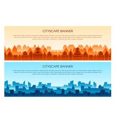 Cityscape flat banner templates set vector