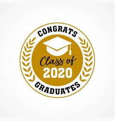 class 2020 congrats graduates wreath logo vector image