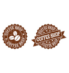 coffee shop stamp seals with grunge texture in vector image