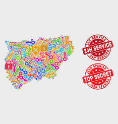 Collage safeguard jaen spanish province map and vector