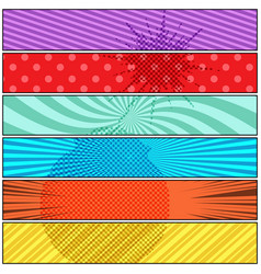 Comic explosive colorful horizontal banners vector