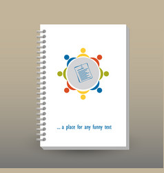 Cover of diary team work table icon flat design vector