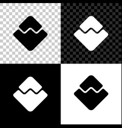 cryptocurrency coin waves icon isolated on black vector image