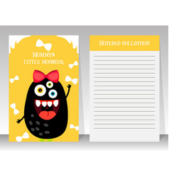 Cute yellow notebook template with monster vector