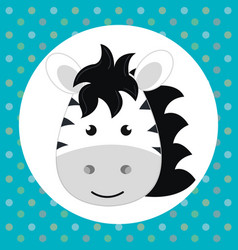 cute zebra head tender character vector image