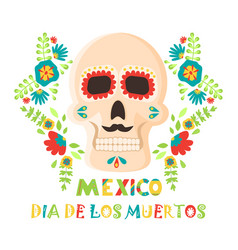 day of the dead poster mexican dia de los muertos vector image
