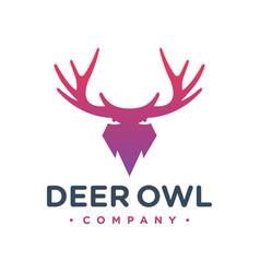 Deer antlers and owl logo vector