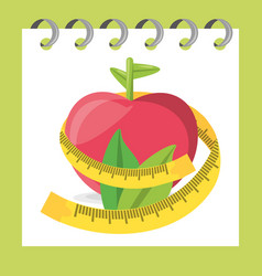 delicious healthy apple with leaves and measuring vector image