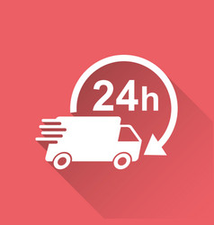 delivery truck 24h 24 hours fast delivery vector image