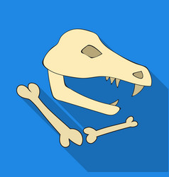 Dinosaur fossils icon in flate style isolated on vector