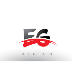 Eg e g brush logo letters with red and black vector