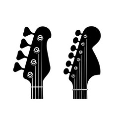 Electric and bass guitar headstock silhouettes vector