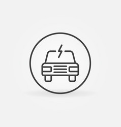 Electric vehicle concept round outline icon vector