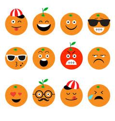 Emojis orange fruit summer set emotional vector
