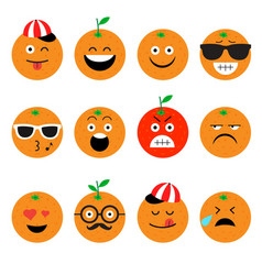Emojis orange fruit summer set of emotional vector