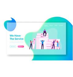 Employees paperwork deadline stress website vector