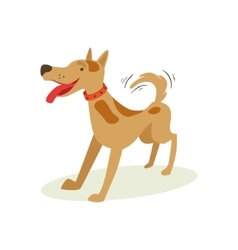 Excited Brown Pet Dog Wants To Play Animal vector image