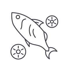 Fish with lime icon linear isolated vector