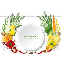 Flat lay fresh vegetables on white table vector