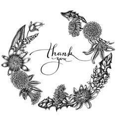 floral wreath black and white dandelion ginger vector image