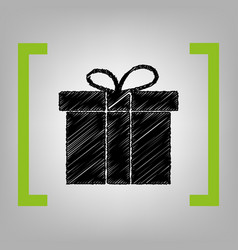 gift box sign black scribble icon in vector image