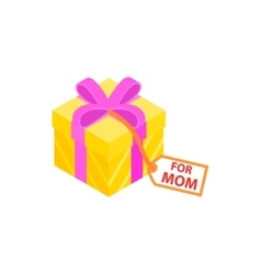 Gift box with pink ribbon and for mom card icon vector image