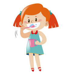 girl brushing teeth with toothbrush vector image
