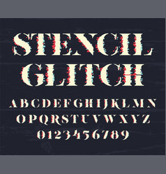 glith font and numbers vector image