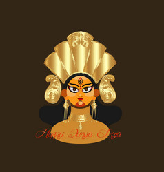 Goddess durga face in happy durga puja vector