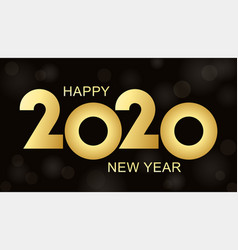 golden luxury text 2020 happy new year vector image