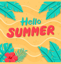 hand drawn hello summer background on sand vector image