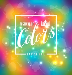 Happy holi blur abstract banner with hand drawn vector image