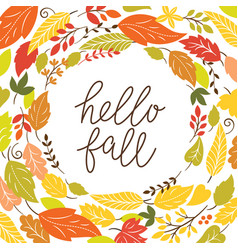 hello autumn frame with leaves vector image