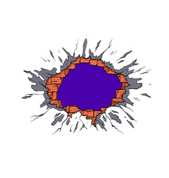 hole in wall comics style hand drawn vector image
