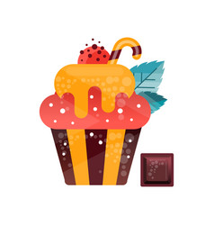 icon of tasty cupcake with gradients and texture vector image
