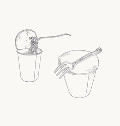 Instant noodle in cup sketch set vector