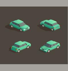 isometric green sedan vector image
