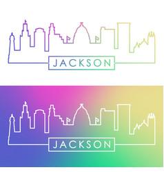 jackson skyline colorful linear style editable vector image